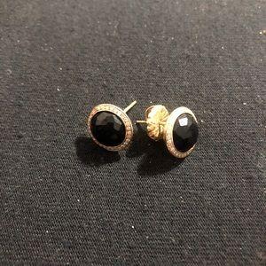 Ippolita onyx and diamond gold stud earrings